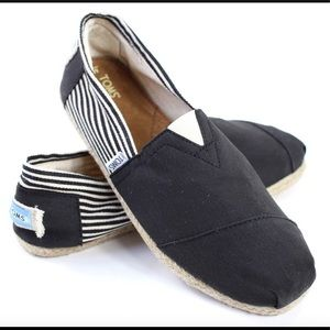 TOMS Nautical Espadrille Black & White Size 6.5